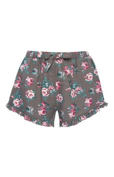 Calções pijama padrão floral cinzento