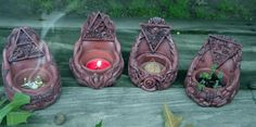 Tales from the Old Wooden Art Table: Making Magic With my Sacred Source Altar Set Diy Clay, Clay Crafts, Magic Crafts, Wiccan Crafts, Wiccan Decor, Pagan Altar, Biscuit, Book Of Shadows, Clay Creations