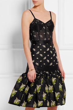 Alexander McQueen   Satin-trimmed silk-blend jacquard and tulle dress   NET-