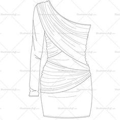 Women's One-Shoulder Bodycon Dress Fashion Flat Template