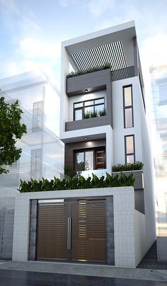 Street & house (Mr Hien) Quang Ninh Date Design: Townhouse Designs, Duplex House Design, House Front Design, Small House Design, Modern House Design, Minimalist House Design, Building Design, Building A House, Narrow House Designs