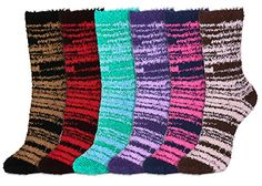 Basico Soft Warm Microfiber Fuzzy Winter Socks Crew 6 Pairs -- To view further for this item, visit the image link.