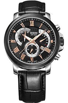 10d794e9df findtime Montre Homme cuir bracelet en acier inoxydable Argent Noir  Chronographe Montre de sport Outdoor Horloge