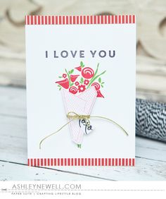 I Love You Card by Ashley Cannon Newell for Papertrey Ink (December 2015)