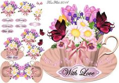 Pink Cup of Love Mini Kit on Craftsuprint designed by Tina Fitch - A floral display in a cup of Love! Stunning once made ..Stand alone cup card full of blooms  - Now available for download!