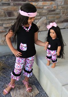 Pink Black Aztec Ruffle Capri Set *KIDS OUTFIT* #boutique-outfits #new #newborn-clothing #newborn-sets #perfect-sets #spring-line