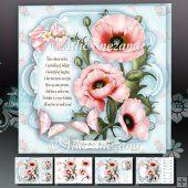 Pink Poppies Card Mini Kit
