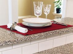 Ever thought you would dine on broken glass? This bar and counter top was made by GLASS RECYCLED and was made to order with the customization options the company offers!