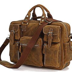 Only 3 available-16 inch leather briefcase leather by LadyBagsSF