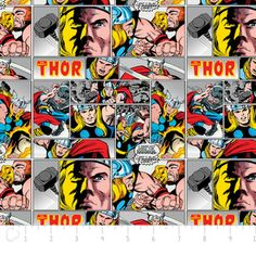 Camelot Cottons House Designer - Marvel Comic II - Thor in Multi