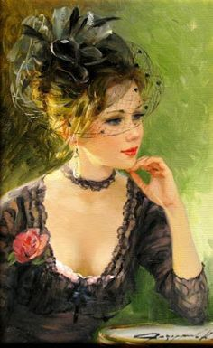 Lovely lady in black, adorned with a pink flower for a hint of colour so becoming. Konstantin Razumov