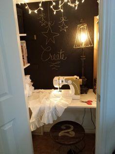 A utility closet becomes a teeny tiny studio! Joy!