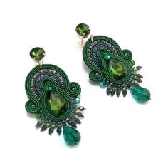 """Soutache earrings """"Heart of the Forest"""", forest inspired, green soutache, big earrings, soutache jewelry"""