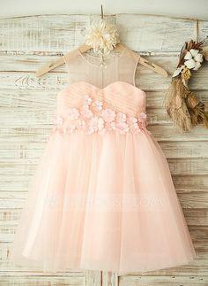A-Line/Princess Scoop Neck Knee-length Flower(s) Tulle Sleeveless Flower Girl Dress Flower Girl Dress