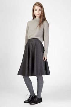 Cos cashmere jumper, wool skirt, socks and brogues for the grown-up school girl look.
