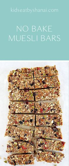 No Bake Muesli Bars Kids Eat by Shanai. These no bake muesli bars are perfect for school lunchboxes. Just use whatever dried fruit and seeds you have in your pantry! Healthy Muesli Bar Recipe, Muesli Recipe, Healthy Bars, Healthy Baking, Healthy Snacks, Musli Bars, Muesli Slice, Fruit And Nut Bars, Raw Bars