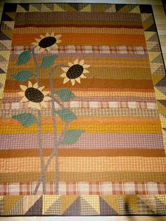 Homespun Sunflowers Quilt Shared by www.nwquiltingexpo.com @nwquiltingexpo.com #nwqe #quilting