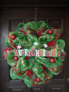 Deco Mesh Wreath. Love love love this for Christmas. My favorite wreath!