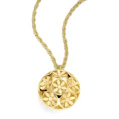 Trina Turk Domed Flower Pendant Necklace ($59) ❤ liked on Polyvore featuring jewelry, necklaces, gold, flower necklace pendant, gold jewelry, yellow gold pendant, gold flower necklace and pendants & necklaces