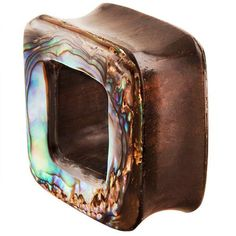 FreshTrends Square Organic Abalone & Wood Tunnel Plugs 3/8