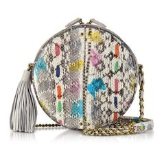 Jerome Dreyfuss Handbags Remi Vassily Printed Snakeskin Round... (¥82,325) ❤ liked on Polyvore featuring bags, handbags, shoulder bags, white, white crossbody handbag, crossbody purse, chain strap shoulder bag, chain shoulder bag and white crossbody purse