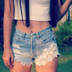 High Waisted Lace Denim Shorts