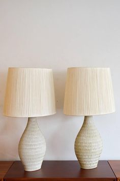 Pair of Incised Cream Ceramic Lamps with Original String Shades 2 Ceramic Lamps, Ceramic Art, Farmhouse Lighting, Table Lamps, Furniture Decor, Beach House, Horse, Shades, Interiors