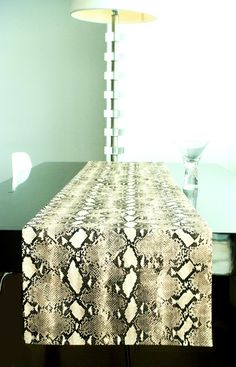"Snakeskin Print Table Runner Tan/Brown 13"" x 72"""