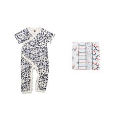 Born Free Swaddle Set | Snuggle your little one close in a cute wrap romper and a silky soft aden   anais swaddle blanket in one of four signature Tea prints.