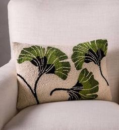Add an element of Zen with this exclusive Ginkgo hand-hooked wool pillow. The ginkgo has been a symbol of longevity (the tree can live for a thousand years) … Wool Pillows, Diy Pillows, Cushions, Knit Rug, Punch Needle Patterns, Cushion Fabric, Punch Art, Rug Hooking, Fiber Art
