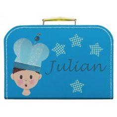 Handgeschilderd kinderkoffertje met naam: Turquoise Julian met prins