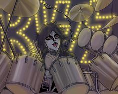 A tribute to Eric Carr cause in my opinion he was one of the best drummers Kiss ever had. Besides, I love drawing the fox make up he used to wear Also I. I Love It Loud, Kiss Me Love, Love Drawings, Cartoon Drawings, Kiss World, Detroit Rock City, Kiss Members, Pop Rock Music, Kiss Images