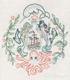 Ship in a Bottle Embroidery pattern Nautical decor par littledear