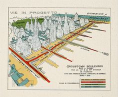 """CROSSTOWN BOULEVARD 1929 by Renzo Picasso An urban plan for the New York City (NYC) transportation system that included """"aero-garages"""" and plane runways throughout the city."""