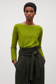 COS image 2 of Textured Jacquard Top in Green