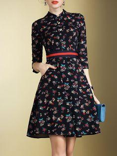 Shop Midi Dresses - Navy Blue 3/4 Sleeve Floral Midi Dress online. Discover unique designers fashion at StyleWe.com.