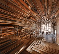 Hotel Hotel ground floor interior by March Studio uses thousands of pieces of reclaimed timber. #Dec2015