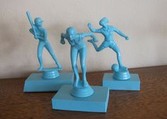 Girls Can Do Anything Award Trophies - Vintage Trophies Upcycled Blue - Girl Power