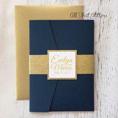 Navy Wedding Invitation set   Navy Wedding Invites   Gold Wedding Invitations   Glitter Wedding Invitation suite   Any Color Custom   Evelyn