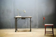 Vintage Industrial Block Top Mill Desk : Factory 20