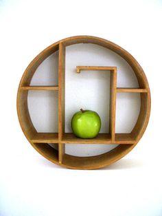 Vintage Danish Modern Circular Shelf - Mid Century Modern Round Shelf - Small Asian Style Minimalist Wood Shelf with Issues