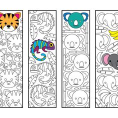 Cute Jungle Animal Bookmarks – PDF Zentangle Coloring Page - Zirkus Basteln Coloring Sheets, Adult Coloring, Coloring Pages, Zentangle, Diy Bookmarks, Jungle Animals, Animal Design, Craft Activities, Colorful Pictures
