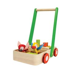 Learning to walk is super fun with this colorful, creatively designed walker. Cute birds that click and clack when pushed encourage little feet to get moving. And the included wooden block set keeps baby busy in independent play. You'll love the friction knob, which allows you to conveniently control the walker's wheel speed.