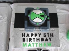 Homemade Ben 10 Birthday Cake: My son is a mad Ben 10 fan so this theme was a no brainer. To be honest I looked everywhere for cake ideas for a Ben 10 Birthday Cake, including this website
