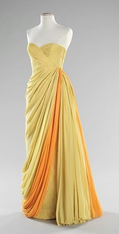 "evening dress ca. 1963 via The Costume Institute of The Metropolitan Museum of Art ""From the designer's oeuvre of work, this is a perfect example of Dessés classic draped chiffon evening gowns. 1960s Fashion, Look Fashion, Vintage Fashion, Dress Fashion, Vintage Outfits, Vintage Gowns, Vintage Clothing, Moda Vintage, Vintage Mode"