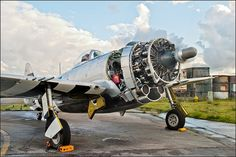 """Running up after some engine work without the cowling on a cloudy day. Great detail on the Pratt and Whitney R-2800.  Best on black; press """"L""""."""