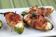 Bacon wrapped jalapeno peppers.