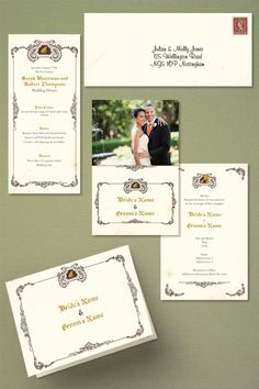 'The Princess and the Frog' wedding invitations in various formats.