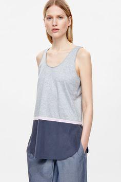 Jersey vest with silk hem
