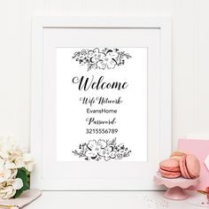 A Wifi password sign is a great addition to your home or guest room. This sign is good for letting your guests know the name of your Wifi network and the password. You can frame it and put in on the bedside table in your guest room or display it somewhere else in your home....